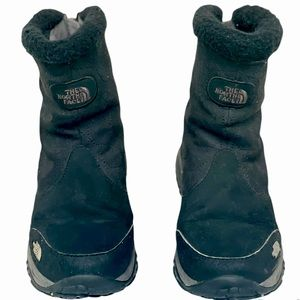 The North Face Girls Black Suede Primaloft Back Zip TNF Winter Grip Boots Size 3